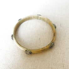 Load image into Gallery viewer, Horn And Diamond Bangle With Labradorite