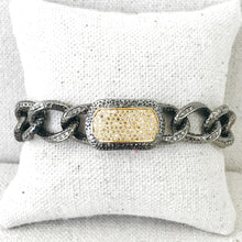 Load image into Gallery viewer, Silver And Gold With Diamond Bar Bracelet