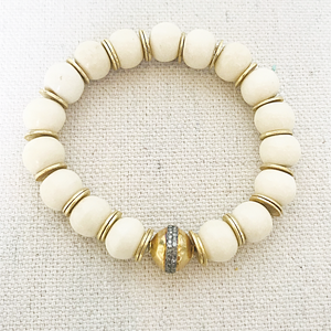 Bone, Gold And Diamond Bracelet