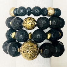 Load image into Gallery viewer, Black Indonesian Wood Bracelet With Indian Brass Bead