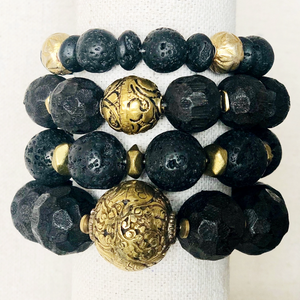 Black Indonesian Wood Bracelet With Indian Brass Bead