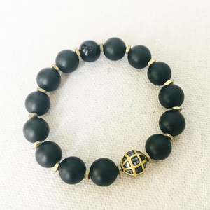 Black Agate And Diamond Bracelet