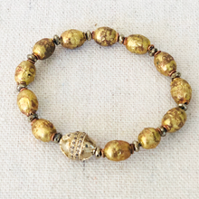 Load image into Gallery viewer, African Brass, Silver And Diamond Bracelet