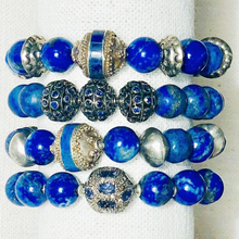 Load image into Gallery viewer, Blue Lapis Bracelet With Vintage Silver Beads