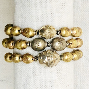 African Brass, Silver And Diamond Bracelet