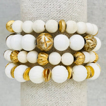 Load image into Gallery viewer, Bone, Coral, And Vintage Afghan Bead Bracelet Stack