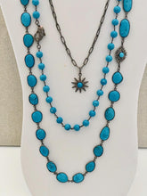 Load image into Gallery viewer, Turquoise Wire Wrapped Necklace With Pave Diamond Lobster
