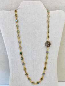 Labradorite Linked Necklace With Diamond Bead