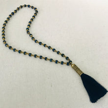 Load image into Gallery viewer, Lapis Beaded Necklace With Navy Tassel