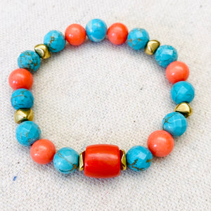 Coral, Gold, And Turquoise Bracelet