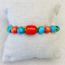 Load image into Gallery viewer, Coral, Gold, And Turquoise Bracelet