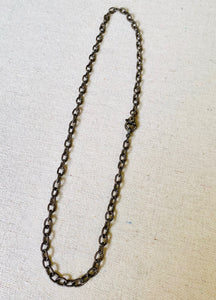 Texturized Sterling Silver Chain With Pave Diamond Lobster