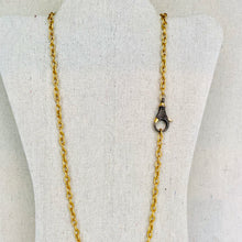 Load image into Gallery viewer, Brass Chain With Pave Diamond Lobster