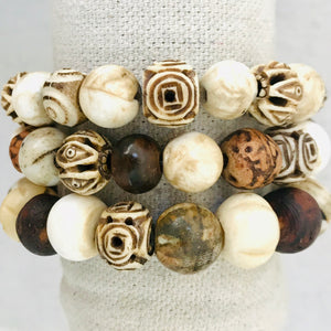 Bone, Wood, And Shell Bracelet Stack