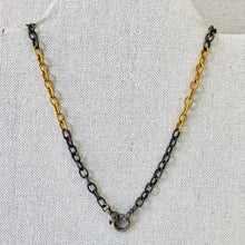 Load image into Gallery viewer, Texturized Sterling Silver And Gold Filled Chain With Pave Diamond Lobster