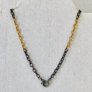 Texturized Sterling Silver And Gold Filled Chain With Pave Diamond Lobster