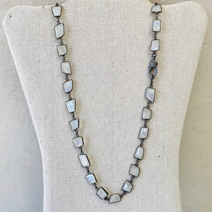 Moonstone Linked Necklace With Pave Diamond Lobster