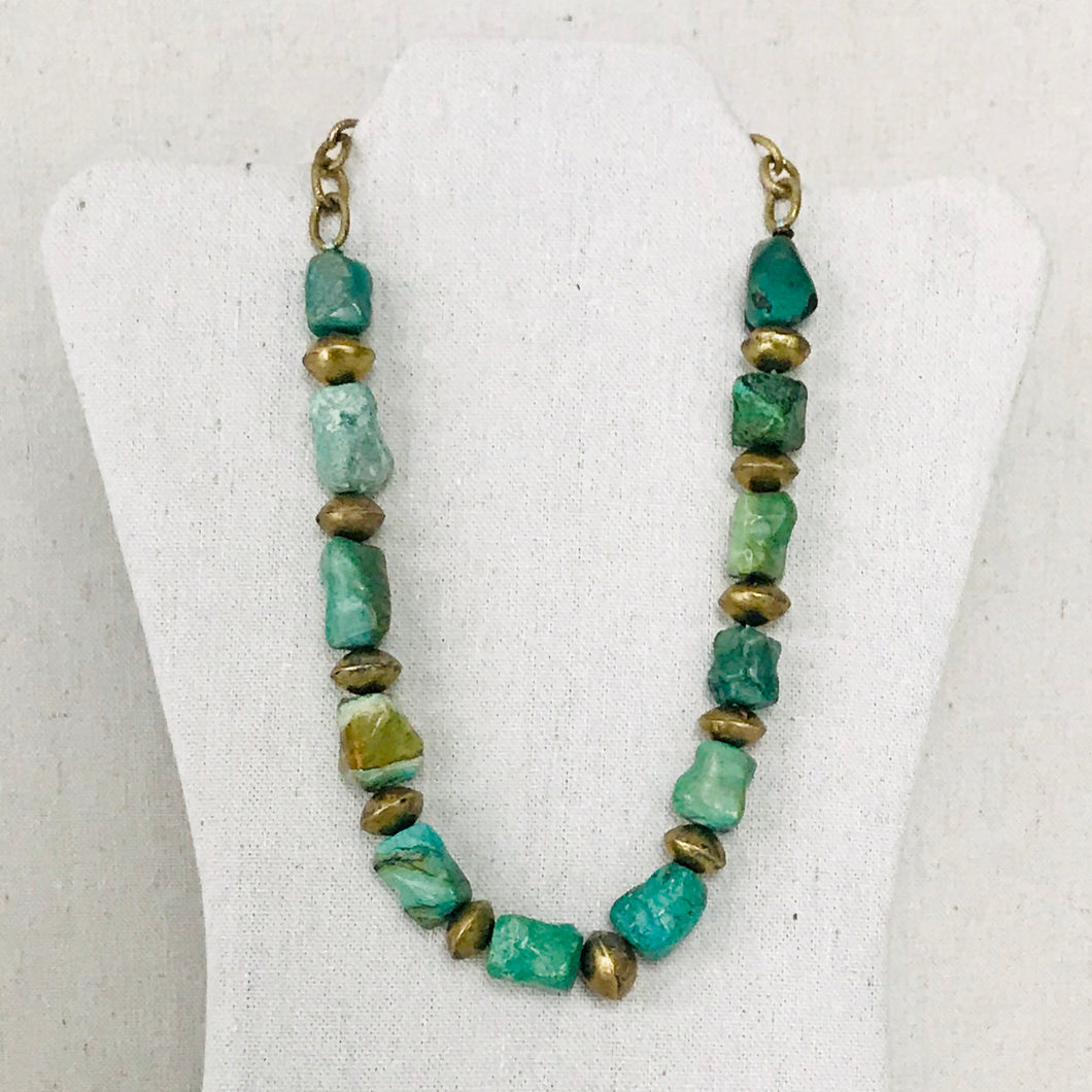 Turquoise And Brass Necklace (Large)