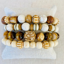 Load image into Gallery viewer, Wood And Bone Bracelet Stack