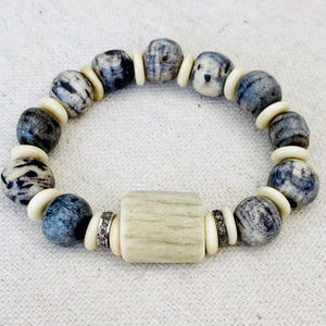 Bone, Shell, and Diamond Bracelet