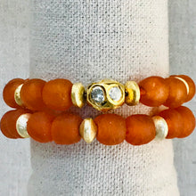 Load image into Gallery viewer, Seaglass With Gold And Diamond Bead Bracelet Stack