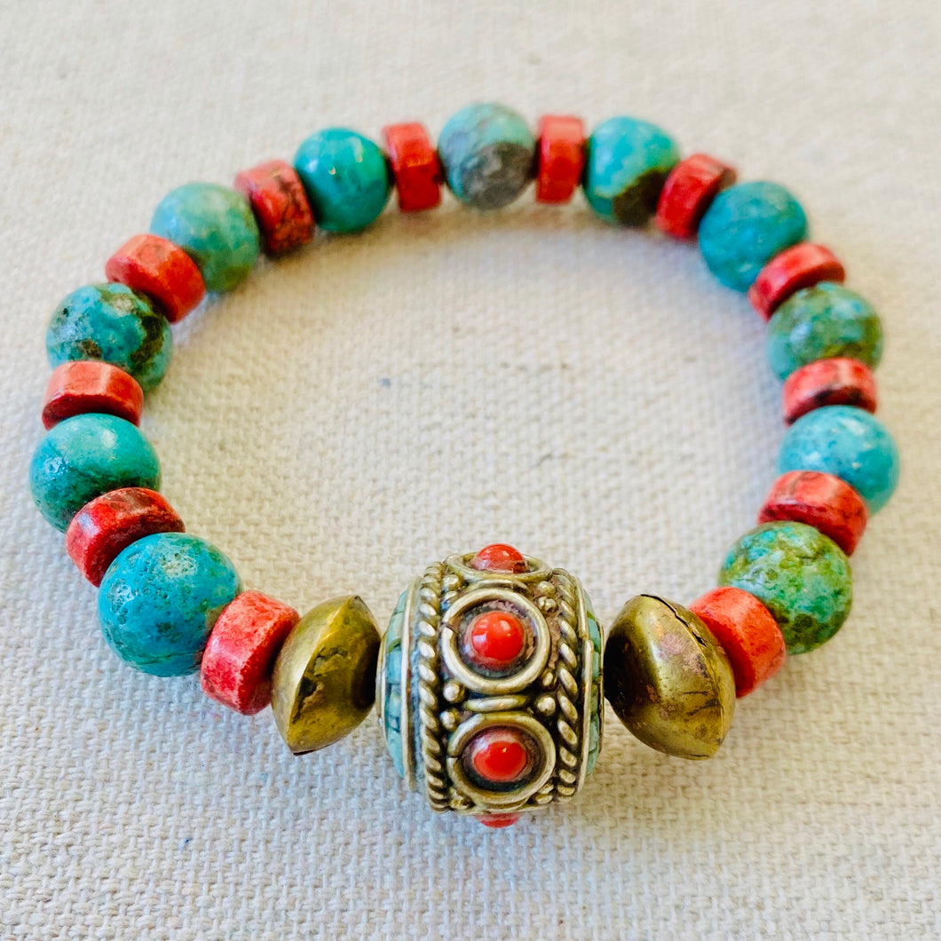 Coral, Turquoise, And Brass Bracelet