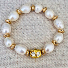 Load image into Gallery viewer, Pearl With Gold Plated Diamond Bracelet