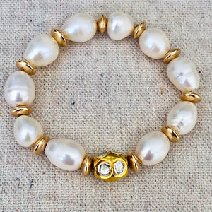 Pearl With Gold Plated Diamond Bracelet