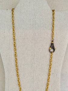 Brass Chain With Pave Diamond Lobster