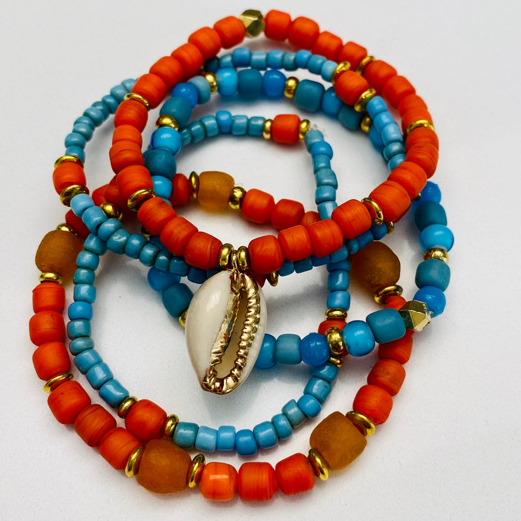 Turquoise And Orange Bracelet Stack