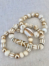 Load image into Gallery viewer, Bone, Conch Shell, Wood And Gold Filled Bracelet Stack