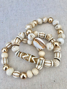 Bone, Conch Shell, Wood And Gold Filled Bracelet Stack