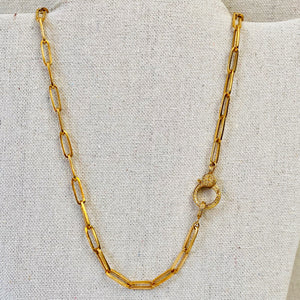 Brass Large Paperclip Chain With Pave Diamond Lobster