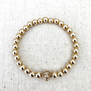 Gold Filled Bracelet With Diamond Bead