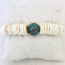 Load image into Gallery viewer, Shell And Diamond With Turquoise Bracelet