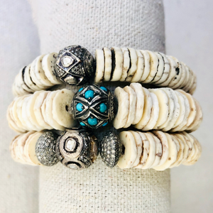 Shell And Diamond With Turquoise Bracelet