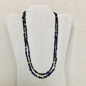 Delicate Mali Beads With Brushed Gold Necklace