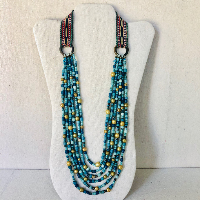 Blue-Green Glass Multi-Strand Necklace