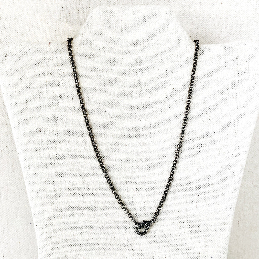 Gunmetal Rolo Chain With Pave Diamond Lobster