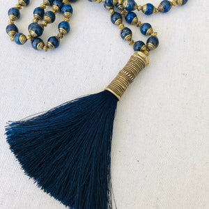 Lapis Beaded Necklace With Navy Tassel