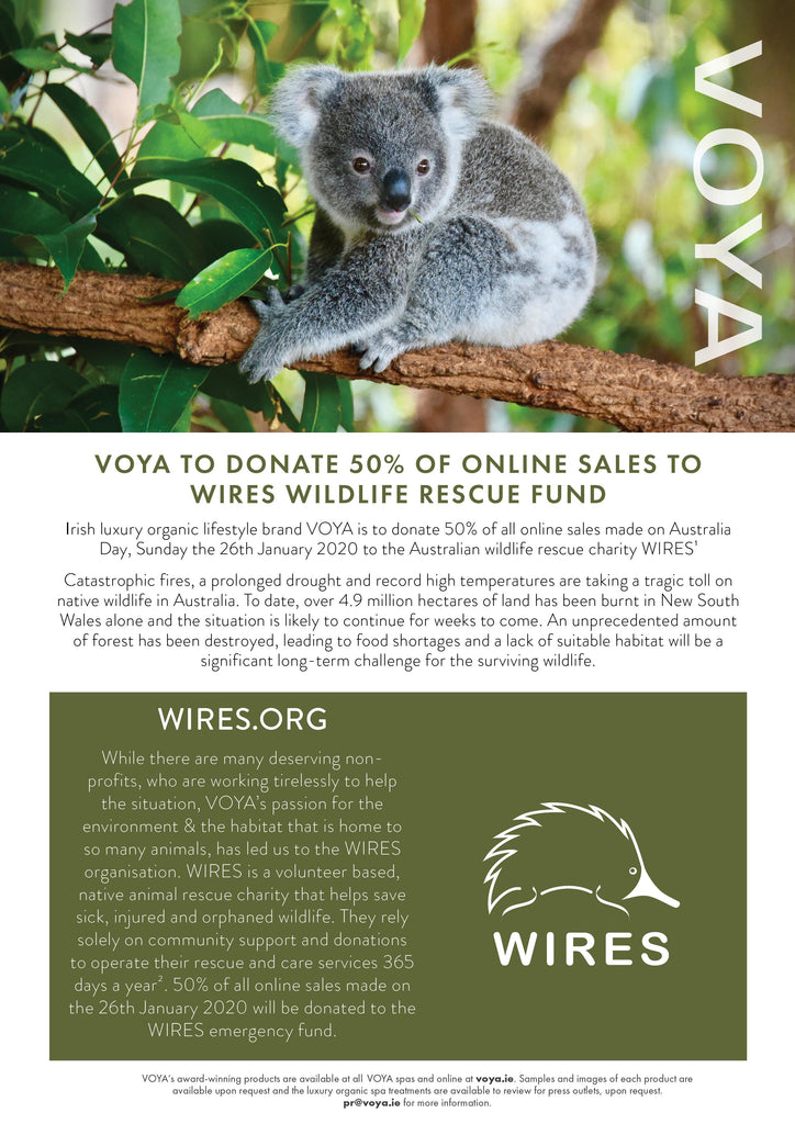 Voya Organic Beauty to donate 50% of online profits to Wires Wildlife Rescue Fund