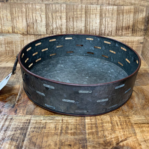 Round Metal Tray w/ Handle