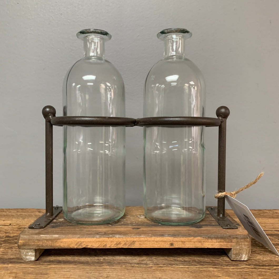 2 Glass Bottles With Stand