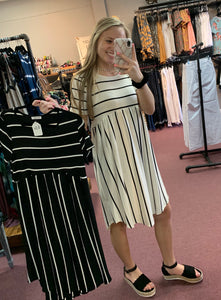 Stripe High Waist Swing Dress