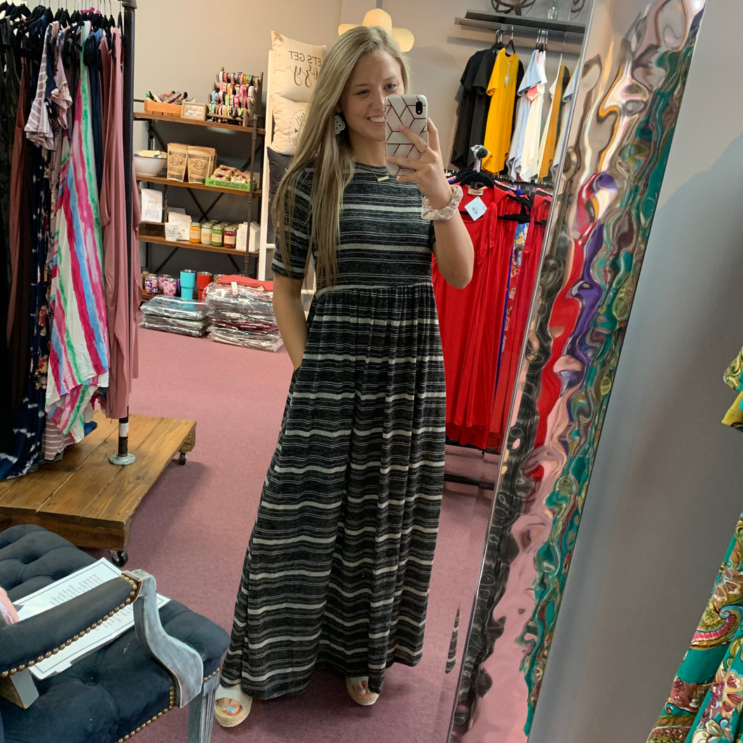 Black & Gray Stripe Maxi Dress