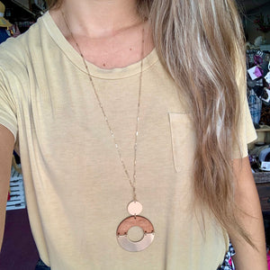 Wood & Gold Circle Necklace