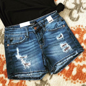 Leopard Patch Denim Shorts