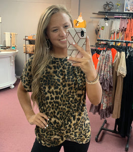 Leopard Twist Hem Top