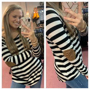 Stripe & Patch Sleeve Top