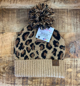 All About Leopard Pom Pom Beanie